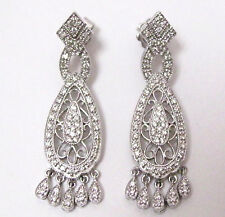 .90 TCW Art-Deco Natural Round Cut Diamond Chandelier Earrings 14k White Gold