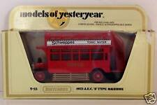 MATCHBOX ~ YESTERYEAR ~ Y-23 ~ 1922 AEC OMNIBUS ~ SCHWEPPES TONIC WATER
