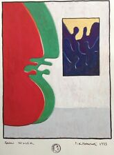 "Dimitris C. Milionis ""IS IT ART?"" Signed Painting on Paper Gold Greek 1993"