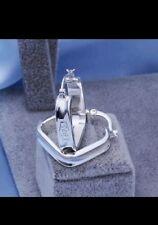 square hoop Earrings 925 Stamped Silver jewellery lady men valentines gift +bag