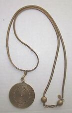 Vintage Signed YSL Yves Saint Laurant Couture Runway Gold Metal Necklace Pendant