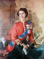 ART PRINT POSTER PAINTING QUEEN ELIZABETH II MILITARY REGALIA PORTRAIT NOFL0880
