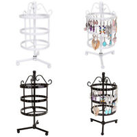 72 Holes Metal Rotating Jewelry Earrings Display Stand Holder Tree Rack HangerAD