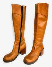 Ladies Boots 1970s Knee High Tan Leather Heeled Boot Sz 5-6 Vintage Women's