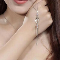 Fashion Women Charm Double Heart Link White Purple Crystal Chain Bracelet G