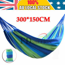 200KG Double Cotton Fabric Hammock Air Chair Hanging Swinging Camping Bed Blue