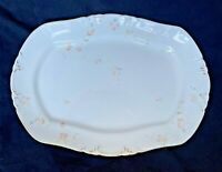 "WM co Pink Floral Semi Porcelain Platter 11"" x 15""  Antique 1879-1906 Stamped"