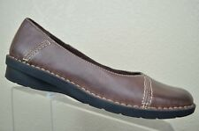 Clarks Bendables Brown Stitched Leather Slip On Loafer Casual Women's 12 M