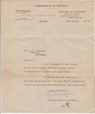WW1 ANZAC repatriation letter 1918 for Australian soldier Balfour Phillips 9451