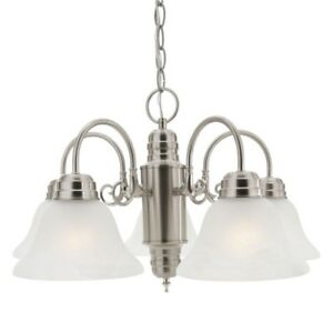Millbridge 5-Light Chandelier Satin Nickel Glass Shades Hanging Ceiling Fixture