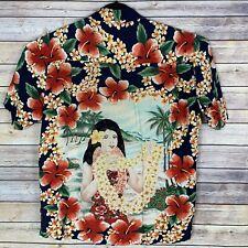 Kennington Mens XL Hawaiian Hula Girl Shirt Rayon Red Hibiscus
