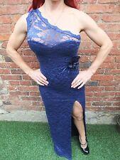 LIPSY DARK BLUE GOTHIC LACE VINTAGE PROM STRETCH WIGGLE SPLIT LEG DRESS ~ UK M