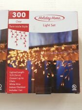 2 Sets Of Clear Twin Icicle Style Light Set White Wire Christmas Wedding New!
