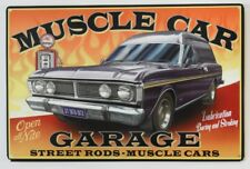 AUSTRALIAN MUSCLE CAR GARAGE FORD XY1970-1972 OPEN 24 HRS   Metal tin Sign