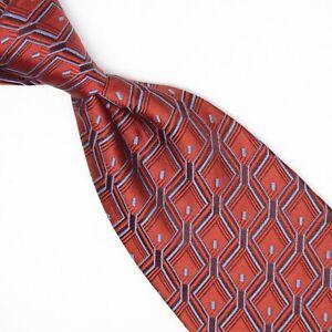 Ermenegildo Zegna Mens Silk Necktie Dark Orange Brown Ice Blue Geometric Tie