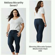 New Melissa McCarthy Seven7 Slimming Silhouette System Crop Cropped Jean 24W