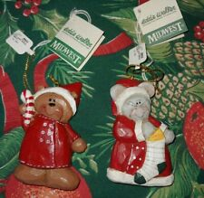 """2 Eddie Walker Ornaments Midwest Of Cannon Falls Bear, Mouse 3"""" Nwt"""