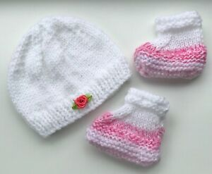 New Hand Knitted Hat  & Bootees for a  Newborn Baby