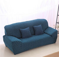 Blue Dots Spandex Stretch Fitted Sofa Cover OUKl Protector for 1 2 3 4 seater O