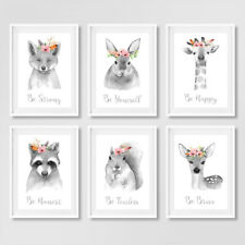 Neutral Grey Floral Boho Animal Nursery Quote Prints Childrens Bedroom Pictures
