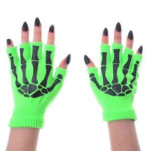 Poizen Industries Gloves Fingerless Neon Green Zombie bones