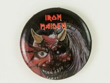 Vintage 1980's Iron Maiden Purgatory concert pin back button mint Heavy Metal
