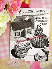 Vintage 1940s Knitting Pattern Tea Cosy 3 styles, Cottage, Lady & Flower Basket.