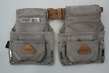 2 - 10 pocket carpenter nail & tool bag w/ leather belt construction pouch grey