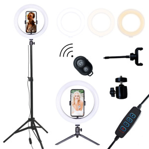 Ring Light with Stand Phone Holder Bluetooth Selfie LED 10 Inch Light Tripod UK