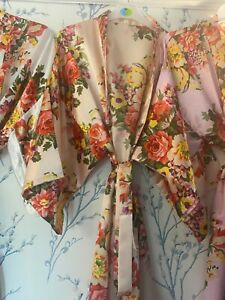 Luxury vintage floral Embroidered ANY name dressing gown/ Robe in one size 8/18