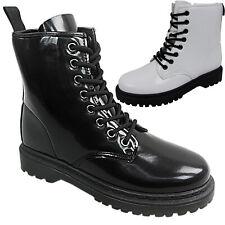 Womens Ladies Lace Up Combat Festival Punk Goth Ankle Boots Shoe Size Zip work