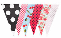 Bunting Wedding Baby Vintage Print Rockabilly Hen  Dots Gingham Cherries 20 Flag