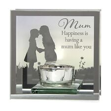 """Reflections of the heart Mirror Tea light candle holder  """"Mum"""""""