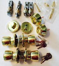 Mobile Home Entrance/Deadbolt Door Lock Set Brass Finish (Keyed Alike) Twin Pack