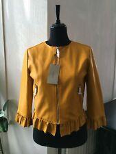 BNWT ZARA Mustard Yellow Faux Yellow Frilled Jacket  - Size L