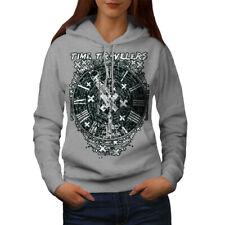 Wellcoda Time Travel Clock Womens Hoodie, Future Casual Hooded Sweatshirt