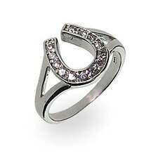 Sterling Silver Cubic Zirconia Lucky Horseshoe Ring
