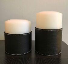 QULT Stumpen Kerze Farluce Classic d=10cm h=12cm Ledermanschette schwarz NEU