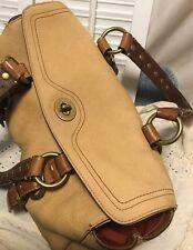 COACH NUBUCK Suede Leather Studded Chelsea Turnlock Shoulder Bag Duffle Satchel