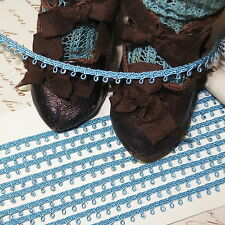 """3y TINY 1/4"""" FRENCH BLUE PICOT LOOP DOLL DRESS TRIM ALL BISQUE ANTIQUE HAT"""