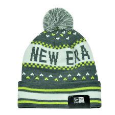 New Era The NE Jake Grey Green Winter Warm Cuffed Striped Beanie Knit Hat Toque