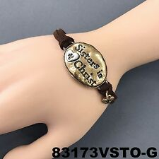 Bohemian Style Brown Suede Gold Hammered Sisters in Christ Engraved Bracelet