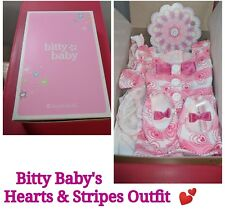 "American Girl BITTY BABY'S HEARTS & STRIPES VALENTINE'S OUTFIT 15"" doll size NEW"