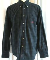 Nautica Men's Large Long Sleeve Blue Green Plaid Button Down Shirt Casual