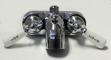 Clawfoot Tub Wall Mount Faucet w/Porcelain Handles and Ceramic Cartridges