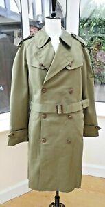 vintage Spanish Italian army surplus new old stock trench coat khaki green 52 ch