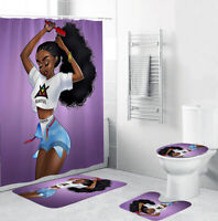 African Girl Thicken Bath Rug Set Shower Curtain Bath Mat Toilet Lid Cover Soft