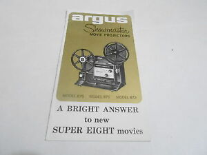 1950s/1960s MOVIE PROJECTOR manual #40 - ARGUS SHOWMASTER MODEL 870 871 872