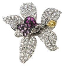 New Kenneth Jay Lane KJL Cubic Zirconia Cz Orchid Brooch Pin Silvertone