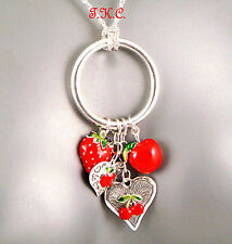 Kitsch Chic Silver Red Enamel,Cherries Hearts Strawberry Pendant Charms Necklace